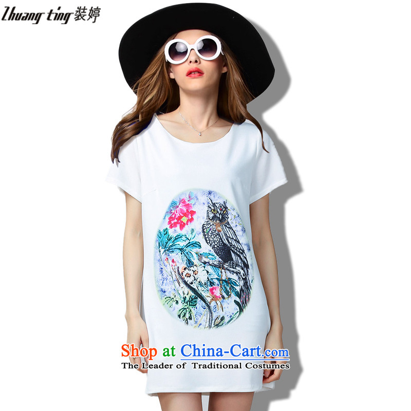 Replace, Hin thick ting thin 2015 Summer thick mm wild large European and American women to intensify the loose short-sleeved dresses 60393 White燲XL