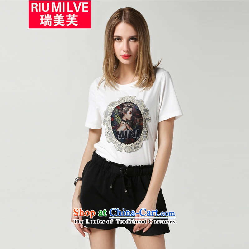 Rui Mei to larger women 2015 Summer new western retro pattern stamp short-sleeved T-shirt pure cotton thick mm loose woman jacket N3616 White�L