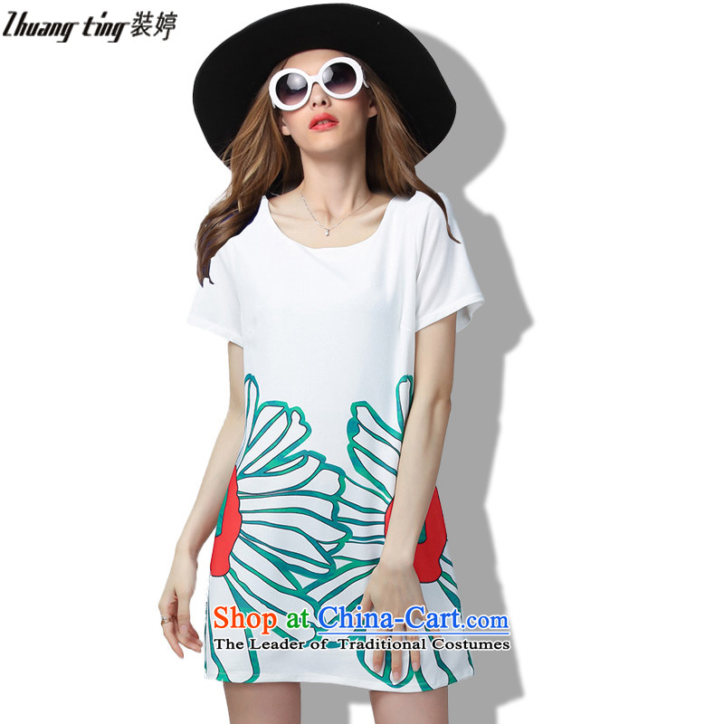 Replace, Hin thick ting thin 2015 Summer thick mm wild large European and American women to intensify the relaxd dress short-sleeved white�L 60513