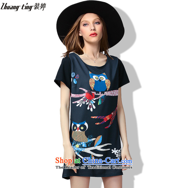 Replace, Hin thick Ting 2015 Summer thick mm thin western large wild women to increase new liberal short-sleeved dresses 60523 Black燲L