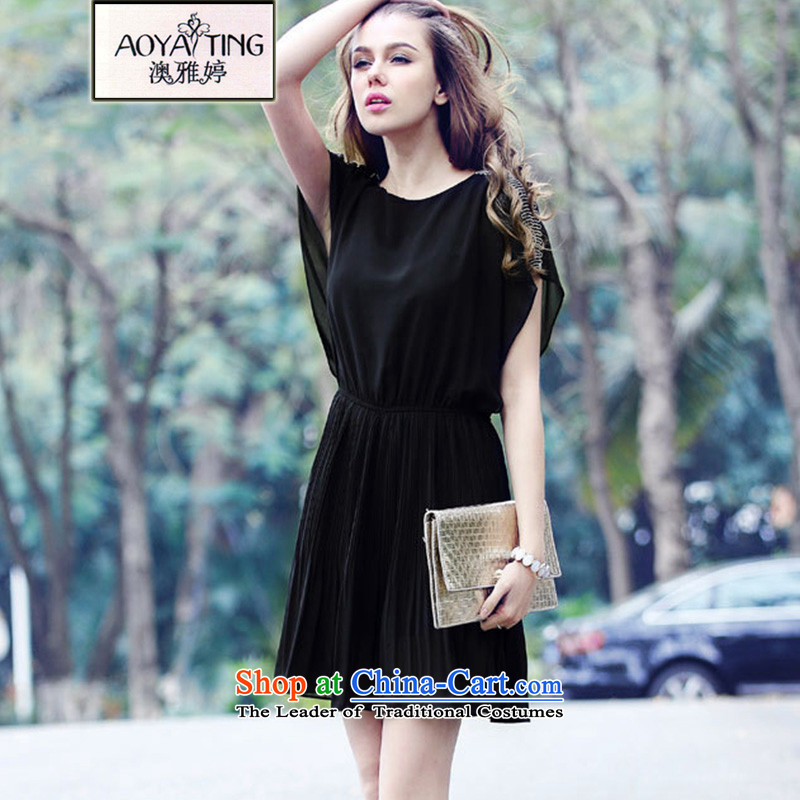 O Ya-ting 2015 new to xl female summer thick mm video thin chiffon short-sleeved dresses female black 5XL 175-200 recommends that you Jin