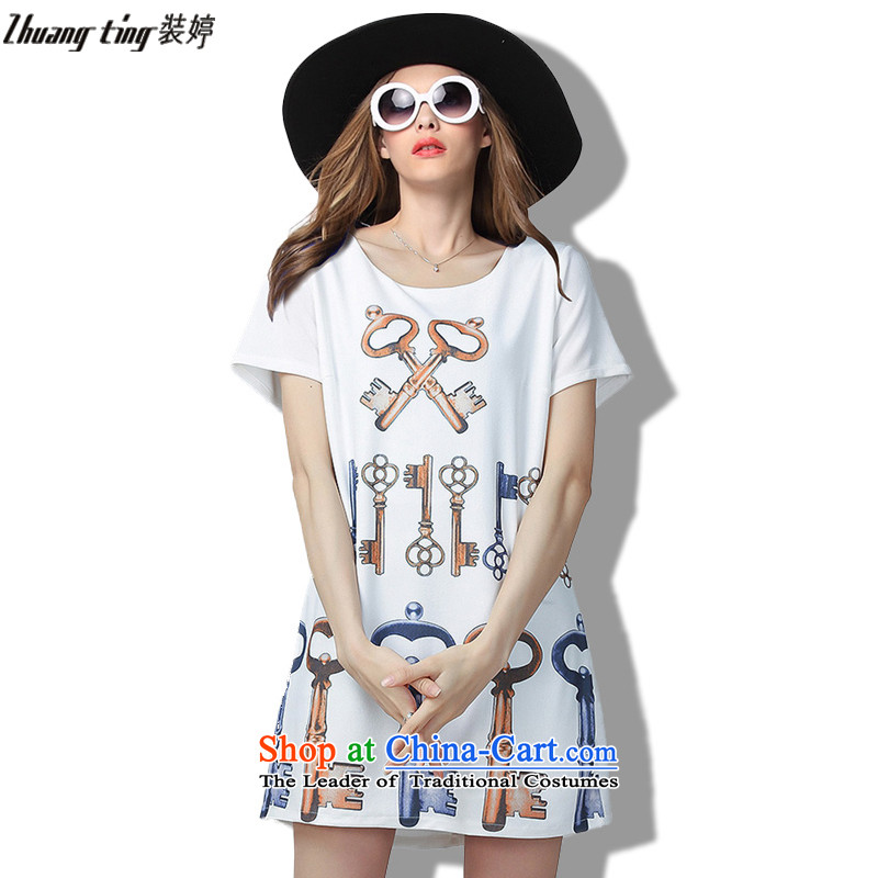 Replace, Hin thick ting thin 2015 Summer thick mm wild large European and American women to intensify the relaxd dress short-sleeved white�L 60533