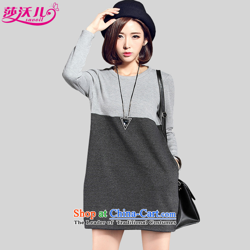 Elisabeth Kosovo children to increase women's code thick MM autumn and winter wild knocked the stitching color not thick wool woolen sweater A field suits skirts�83燾arbon larger 2XL recommendations 130-145 catty