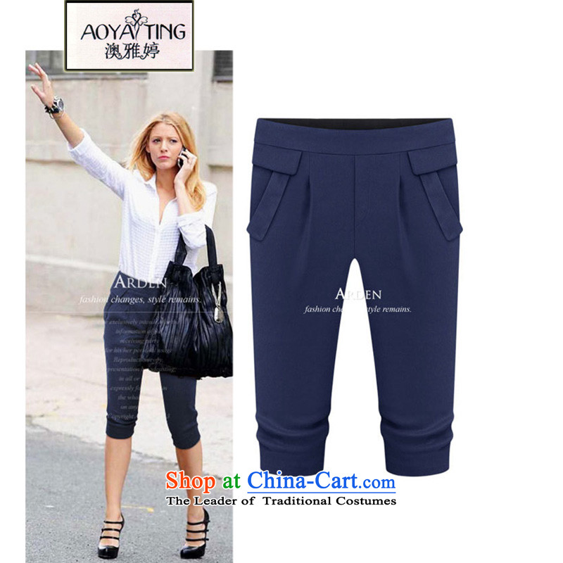 O Ya-ting�15 new to increase women's code of women's summer thick video thin leisure Capri female dark blue�L�5-165 recommends that you Jin