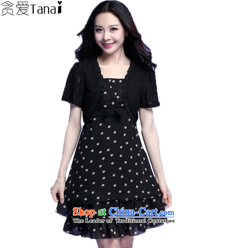 Coveted summer fat mm xl women wave point chiffon lace leave two short-sleeved dresses 3702 Black�L