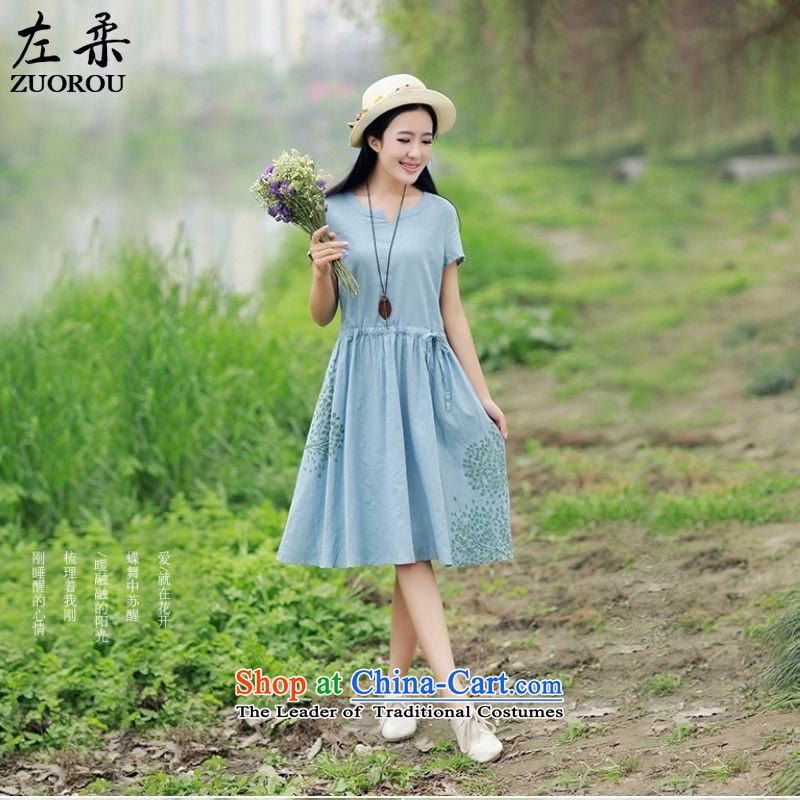 � 2015 Summer Sophie left Korea Edition version of liberal arts halfway cotton linen collar short-sleeve T-shirt linen in stamp long skirt light green燲L