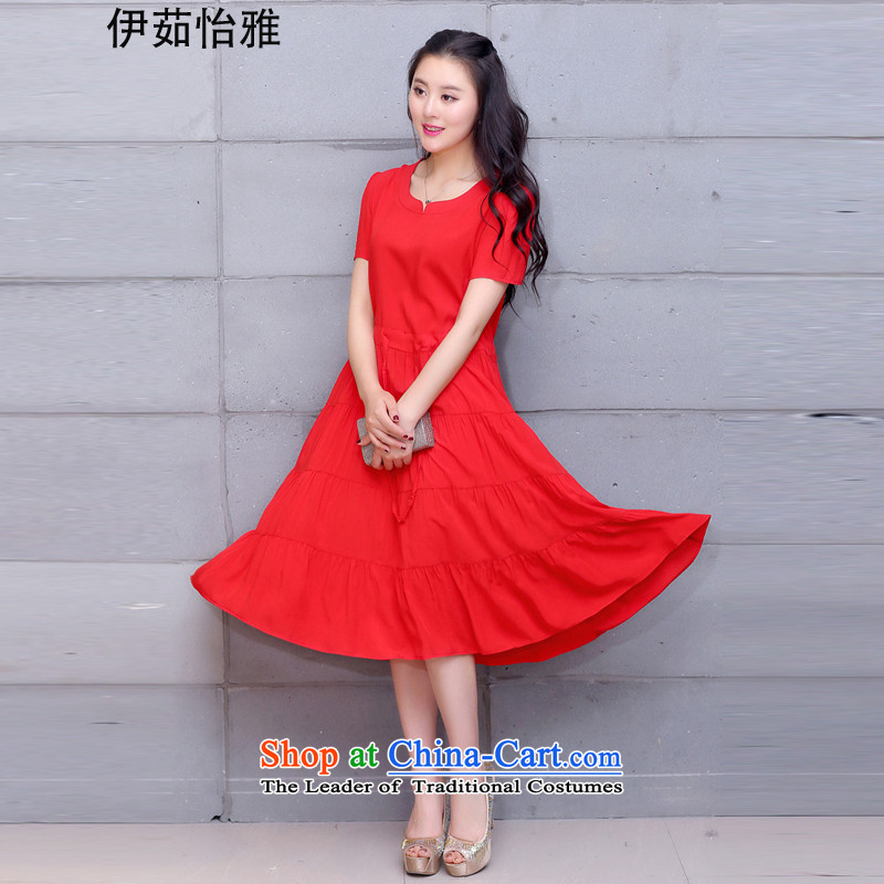 El-ju Yee Nga larger women's dresses 2015 Summer thick, Hin thin foutune 4XL cotton dress YJ167 RED XXL