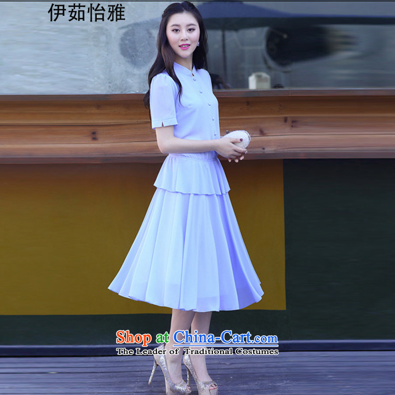 El-ju Yee Nga�15 summer in New 4XL long stitching larger female short-sleeved thick MM video thin ice woven dresses YJ9868 SKYBLUE燣