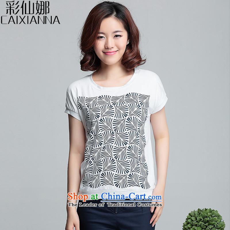 Also the�15 Summer Sin Korean female short-sleeved T-shirt female video thin stamp wild small shirt Yi White�L