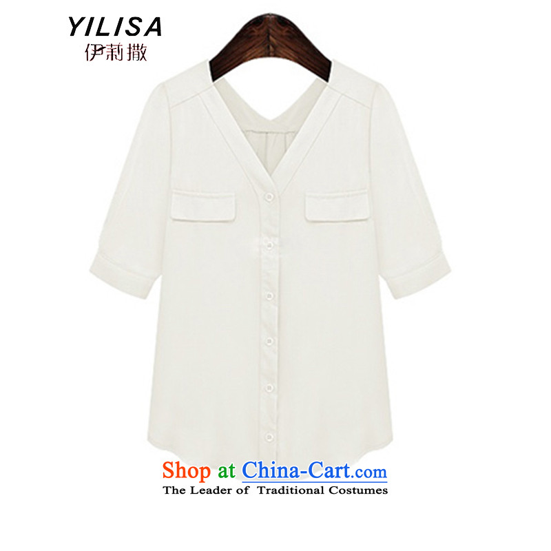 Large European and American women YILISA replacing summer short-sleeved T-shirt shirt thick mm200 catty loose video thin solid color and trendy sunscreen shirt K887 5XL White