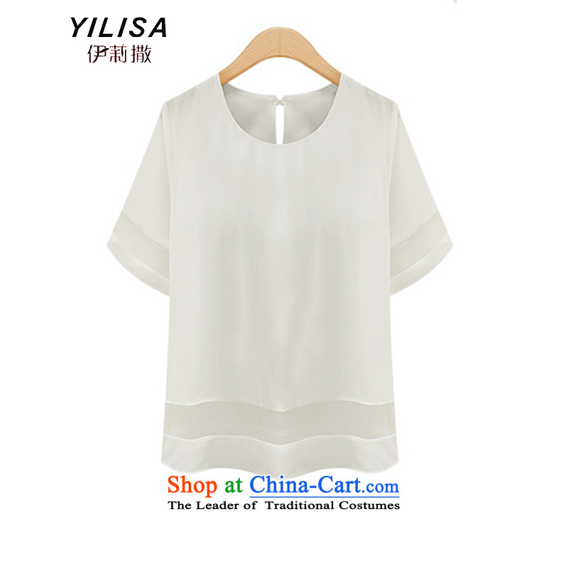 Large European and American women YILISA2015 summer load new Sun t-shirt shirt thick mm thin stylish and cozy relaxd video wild shirt K886 5XL White