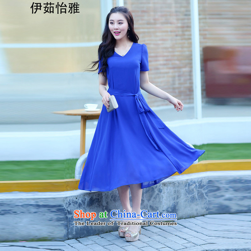 El-ju Yee Nga 2015 Summer large new women's dresses short-sleeved thick snow people woven dresses YJ9565 Blue M