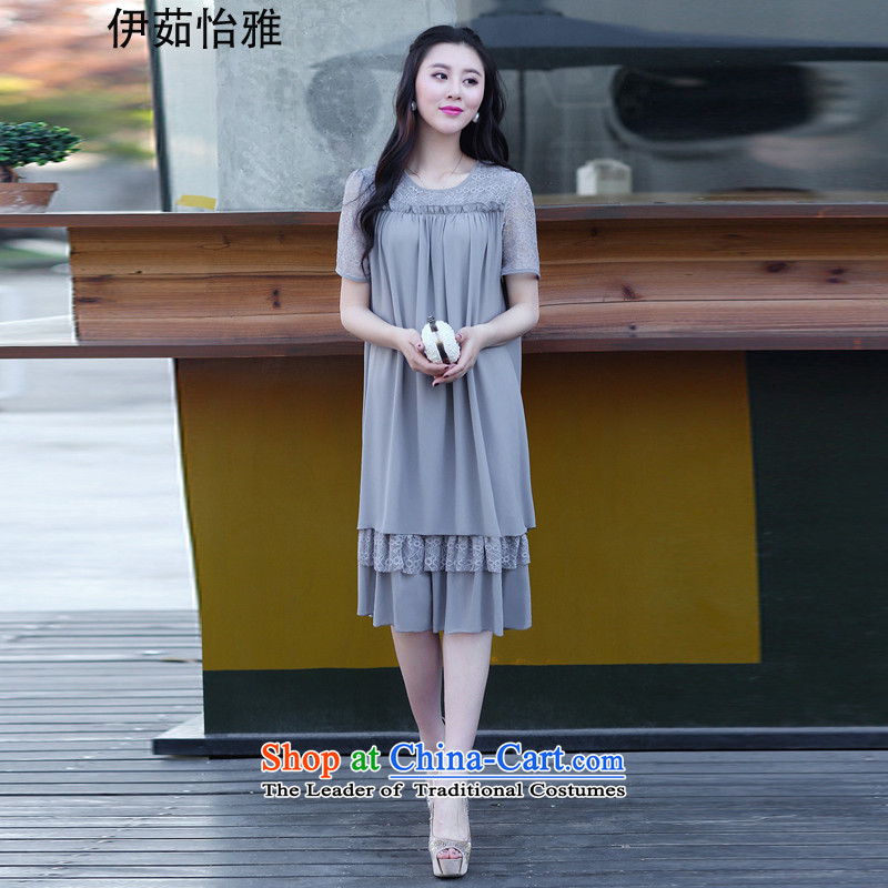 El-ju Yee Nga 2015 Summer new Korean lace thick sister chiffon stitching larger women's dresses YY9161 GRAY XL