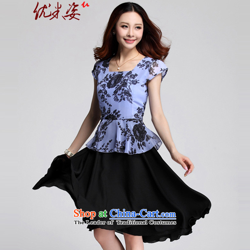 Optimize m Gigi Lai Package Mail C.o.d. Summer 2015 MM thick XL color plane collision stitching chiffon stamp leave two large blue skirt聽2XL suitable for 125-150 catty