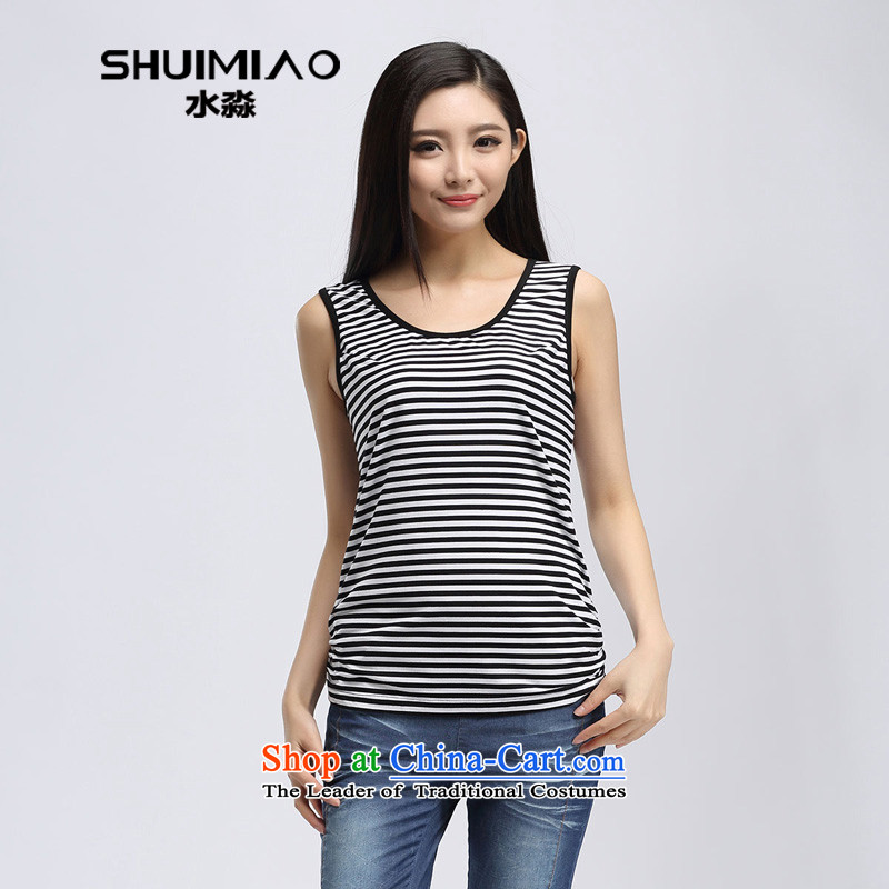 By 2015 Korea Water version of large numbers of ladies thick mm stripe Back soft CAMI female summer of black-and-white S15XA5138 L