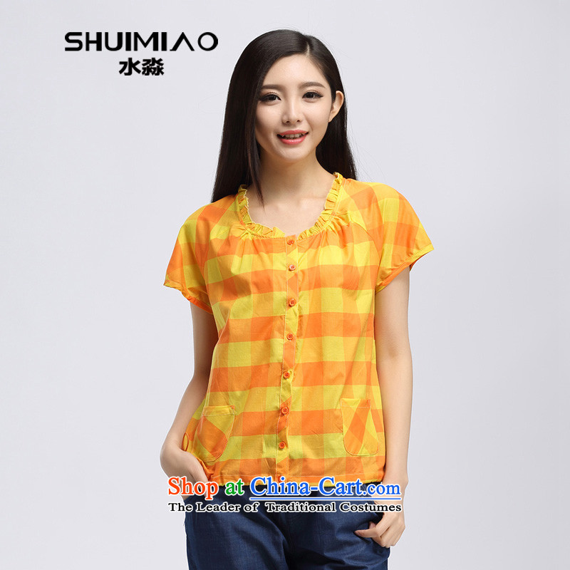The representative of the water for larger women 2015 Summer new products Korean thick cotton fabric, leisure mm short-sleeved T-shirt S15XK4755 Wong orange, L