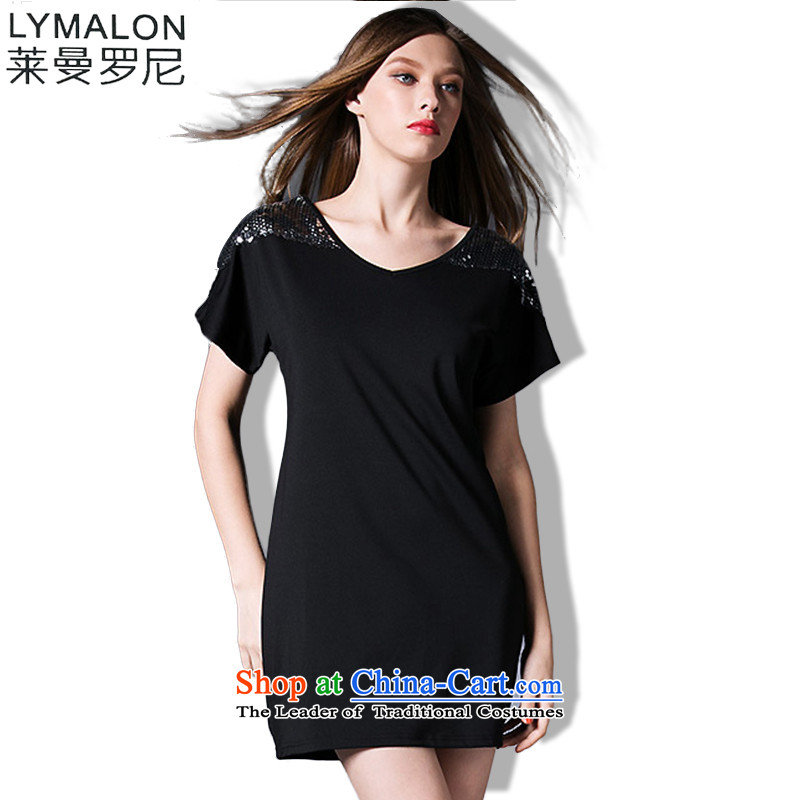 The lymalon lehmann thick, Hin thin 2015 Summer new Korean version of large numbers of ladies fashion sense of Sau San short-sleeved dresses 5263 Black XXL