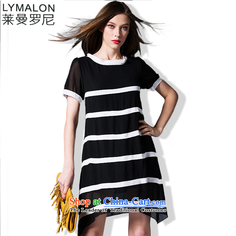 Mr Lehmann thick, Hin thin 2015 Summer thick mm to increase women's large western luxury knocked color stitching chiffon dresses 35323�L black