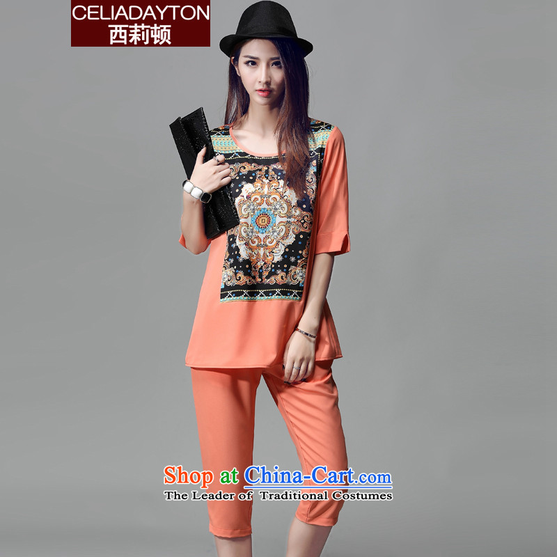 Szili Clinton to increase women's code 2015 mm thick summer new stylish casual personalized stamp temperament chiffon short-sleeve packaged thick Mei loose Capri orange XXXL kit