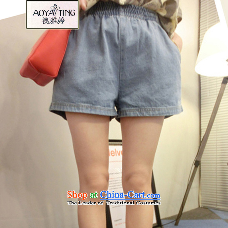 O Ya-ting 2015 new to xl female summer thick mm thin elastic waist for Video Shorts hot pants female light blue 2XL 125-145 recommends that you Jin