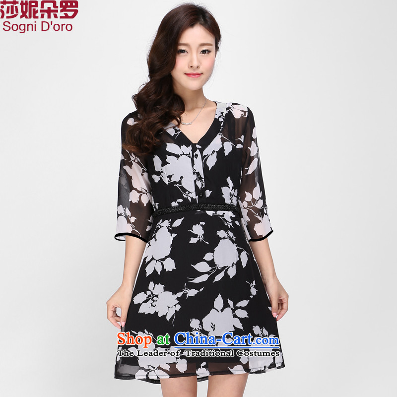 Luo Shani Flower Code women's summer chiffon fat mm thick people XL Graphics thin, thick sister dresses 1116 floral L full chiffon video thin skirt
