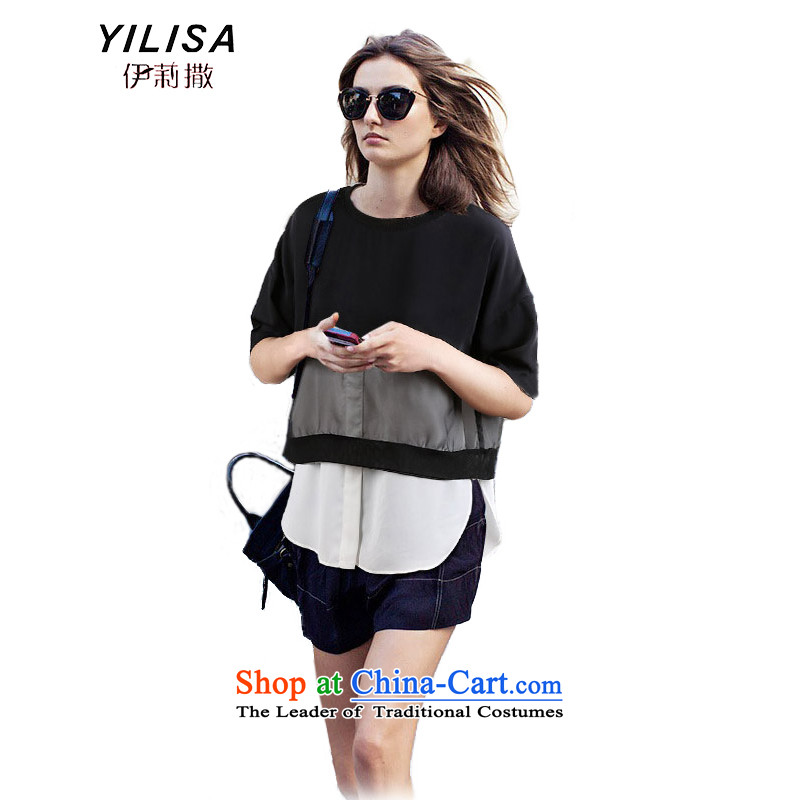Europe and the new summer YILISA larger t-shirts shirt thick mm smart casual relaxd graphics thin stitching knocked color T-shirt K885 chiffon shirt color picture XL