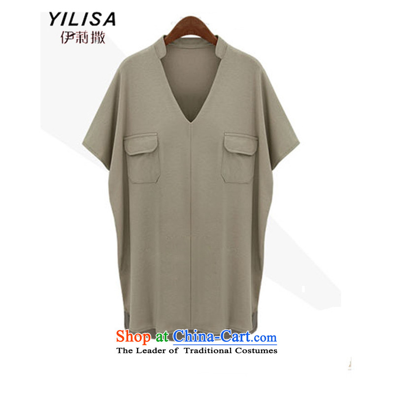 Europe and the spring and summer months maximum YILISA code female new shirts in mm Thick Long Smart Casual relaxd wild 200 catties shirt shirt K882 khaki 5XL