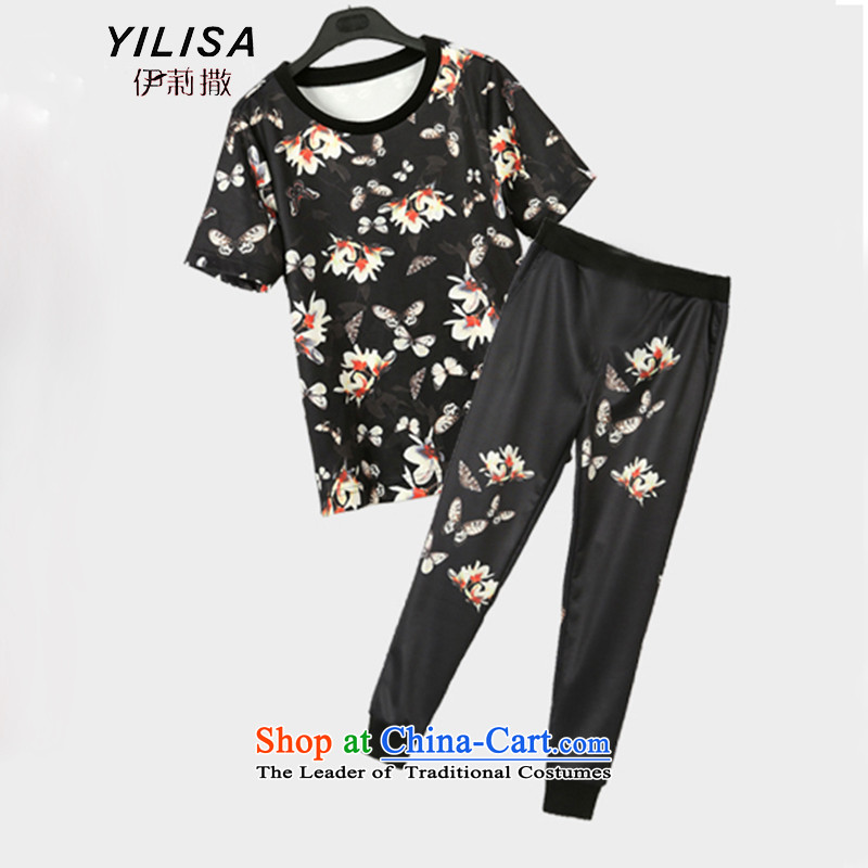 Large European and American women YILISA summer load new t-shirts and long pants thick mm leisure butterfly stamp loose short-sleeved T-shirt pants kit K881 suit 5XL recommendations 175-215 catty