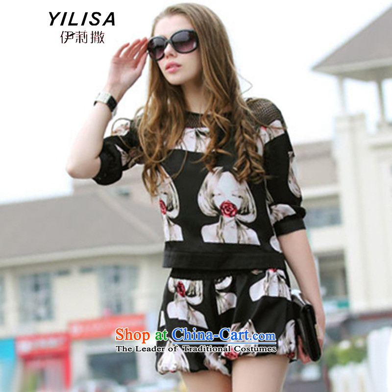 Large YILISA Women's Summer new fat mm summer figures dyeing lace stitching relaxd casual video in thin-sleeved T-shirt shorts kit K877 map color XL recommendations 100-120 catty