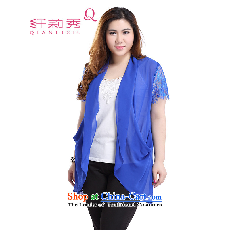The former Yugoslavia Li Sau 2015 Summer new larger female commuter lace stitching in long, thin, wild short-sleeved shawl chiffon cardigan Q5312 BLUE L