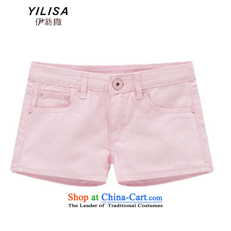 The new king code YILISA2015 women's summer short pants Foutune of thick MM denim pants color shorts H6110 hot pink XL