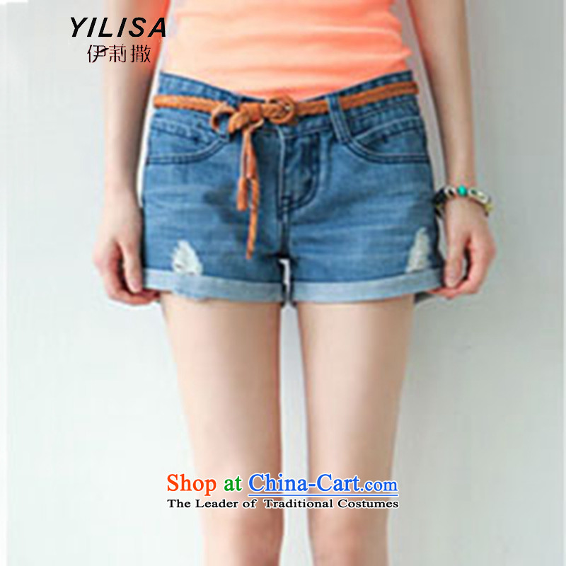 The Korean version of the new YILISA2015 cotton larger women's summer stretch pants thick MM sports and leisure jeans crimping shorts H6109 picture color M