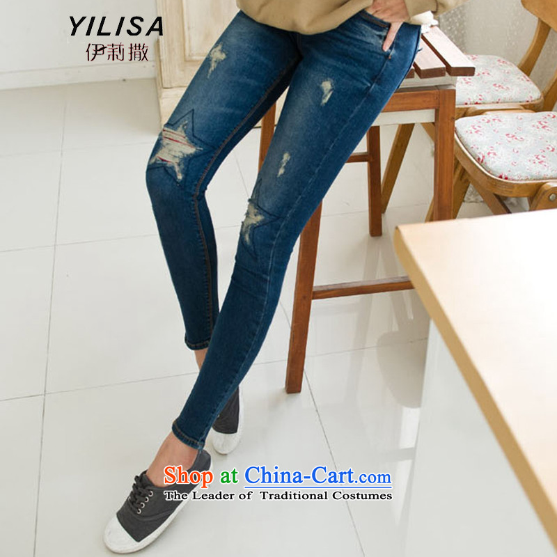 Yilisa2015 spring and summer new Korean version of large numbers of female pants thick MM leisure video for leg of the hole in the thin jeans female H6102 picture color�