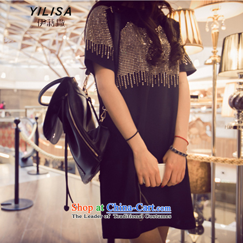 The Korean version of the western stream YILISA2015 su gold large short-sleeved blouses and thick MM Yoo staples in the skirt long loose T shirt H5126 Black XL recommendations 100-135 catty