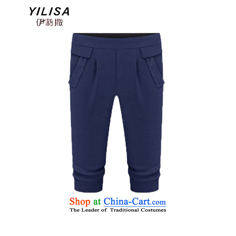 The new Europe and the largest YILISA2015 code female pants thick MM Capri summer leisure elastic elastic waist Capri female H5125 DARK BLUE XXL