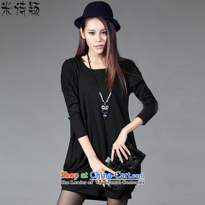 M poem ying 2015 autumn large new women's thick MM THIN possession of meat Sau San video long-sleeved cotton dress 052 Black燲XXL