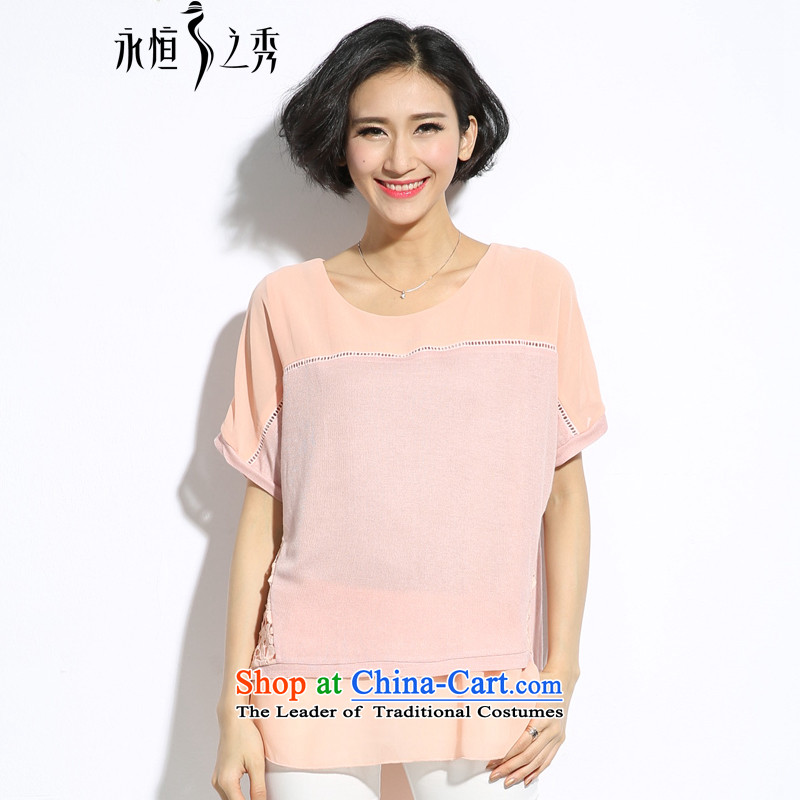 The Eternal Yuexiu code t-shirts for summer 2015 new products thick mm video thin new thick sister sweet bat sleeves slotted lace engraving short-sleeved T-shirt pink 4XL