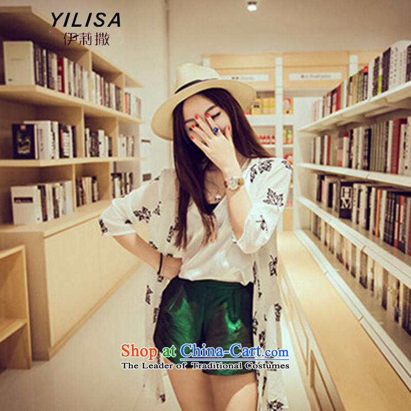 The Korean version of the new YILISA Special Summer xl women's summer sun yi thick MM summer embroidery, long-stylish casual clothes H5130 sunscreen WhiteXXL