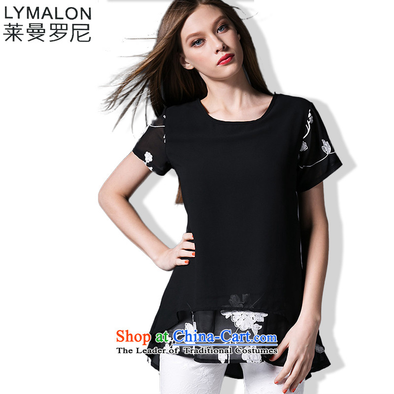 The lymalon lehmann thick, Hin thin Summer 2015 mm heavy code thick female stylish look of Sau San short-sleeved T-shirt 16523 chiffon XXXL black