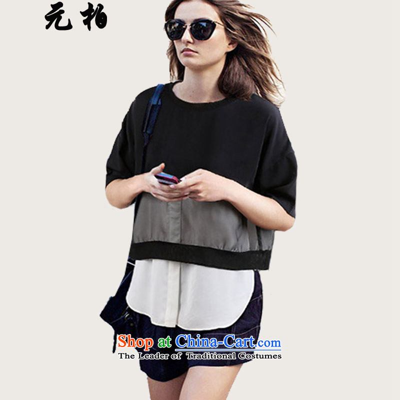 In the summer of Pak short-sleeved new larger female relaxd the fertilizer snow woven shirts thick Black 1953 XL 115-130 MM around 922.747