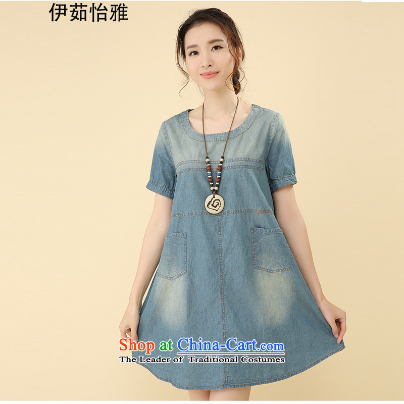 El-ju Yee Nga to intensify the autumn 2015 installed new larger female thick sister video thin cowboy long-sleeved dresses YS5085 light blue short-sleeved L