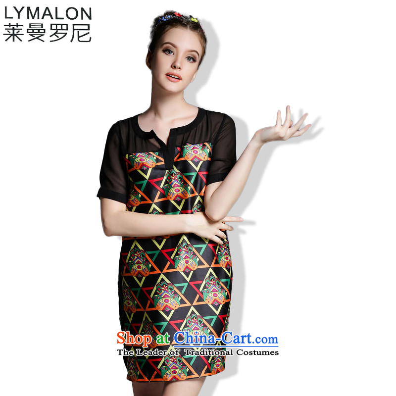 The lymalon lehmann thick, Hin thin Summer 2015 mm thick large new women's stylish look of Sau San short-sleeved dresses XXXL color photo 1882