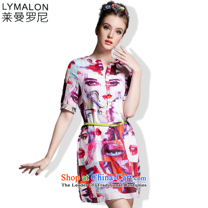 The lymalon lehmann thick, Hin thin Summer 2015 mm thick large new women's stylish look of Sau San short-sleeved dresses picture color 5XL 1873