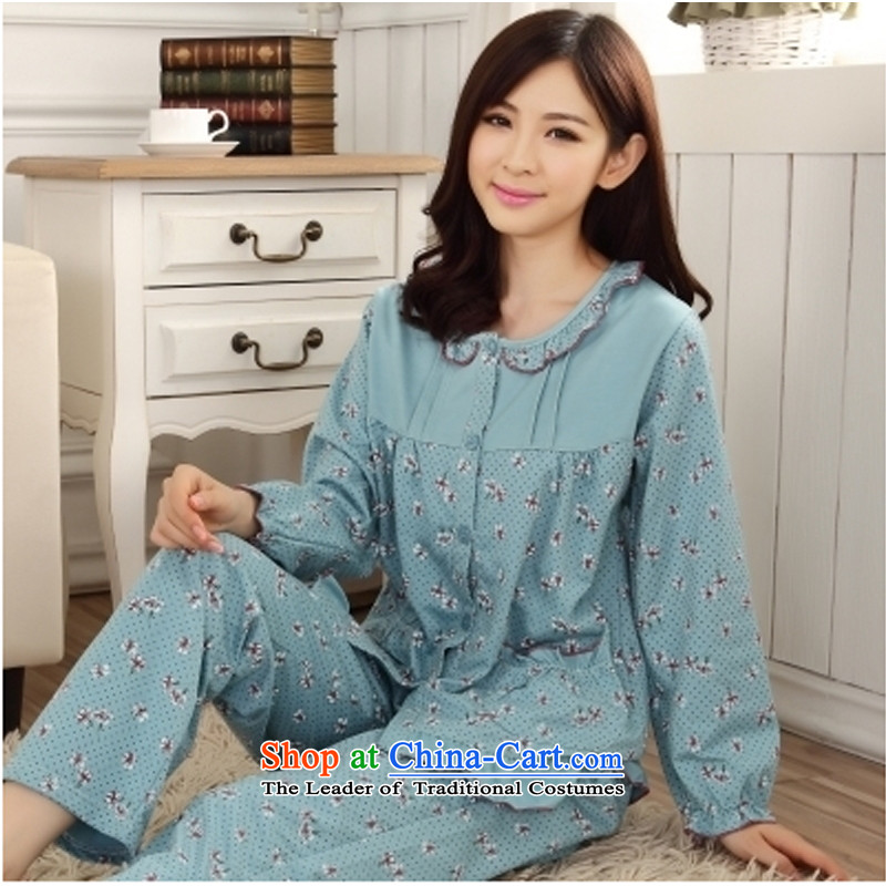 The spring of the Korean version of the nightdress, pure cotton long-sleeved spring and autumn) to increase the number of elderly cotton homewear kit?4 XXL