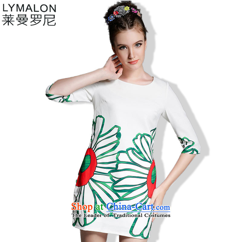 The lymalon lehmann thick, Hin thin 2015 Summer new ultra large stylish women's temperament Sau San short-sleeved dresses 1889 5XL White