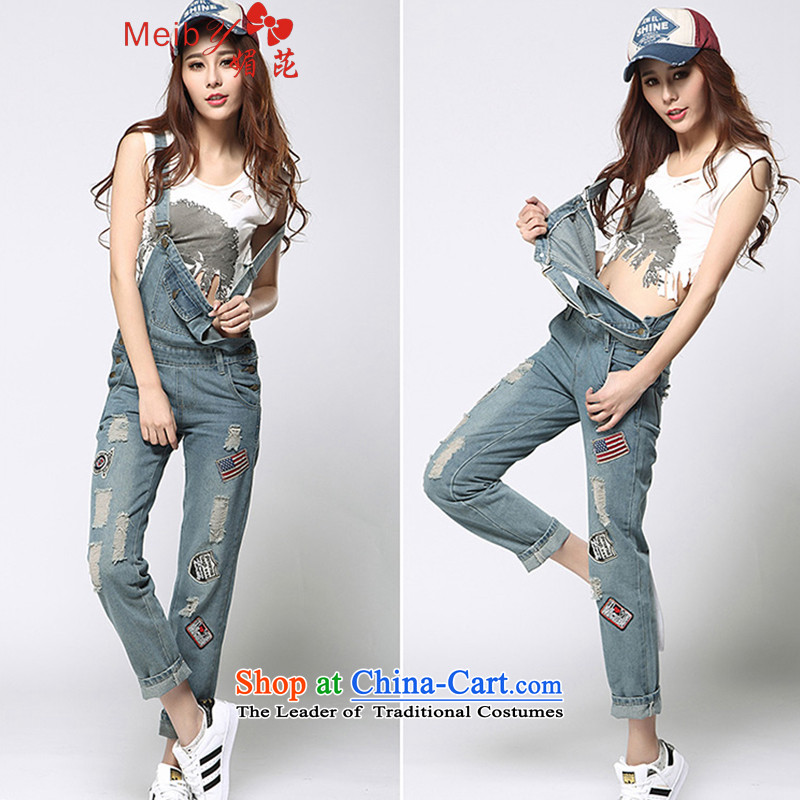 Large meiby female wild Sleek and versatile large new Korean fashion street jumpsuits video of the hole in the Sau San thin straps trousers female 1177 Light Blue 27