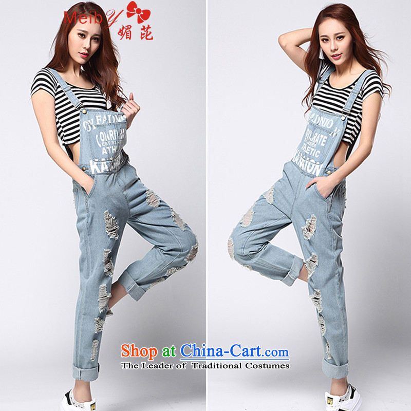 Large meiby female wild Sleek and versatile large new Korean fashion street stamp jumpsuits video of the hole in the Sau San thin straps 1192 Light Blue 31