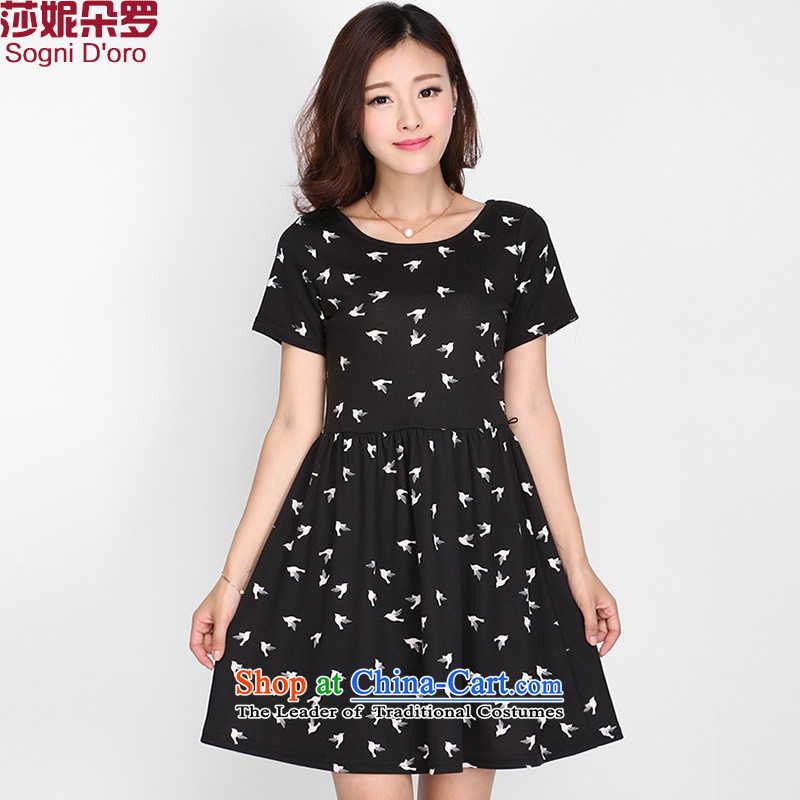 Shani Flower Lo XL Women's Summer thick sister short-sleeved graphics, Korean thin dresses 2102 Black�L