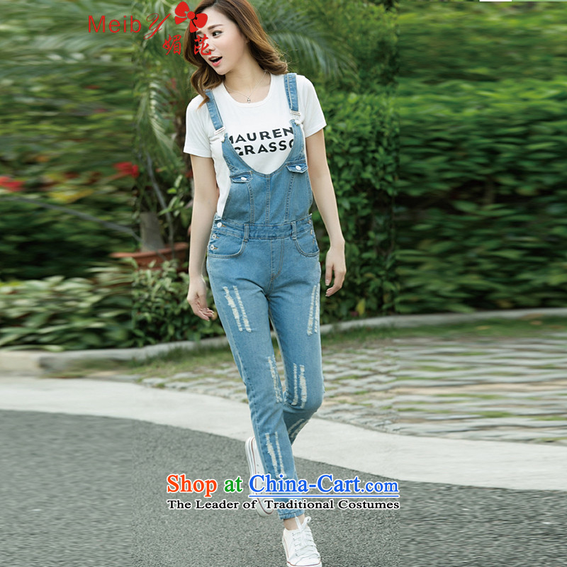 Large meiby female wild Sleek and versatile large summer new women's washable footsore strap jeans pants 9?color photo of 1615?26