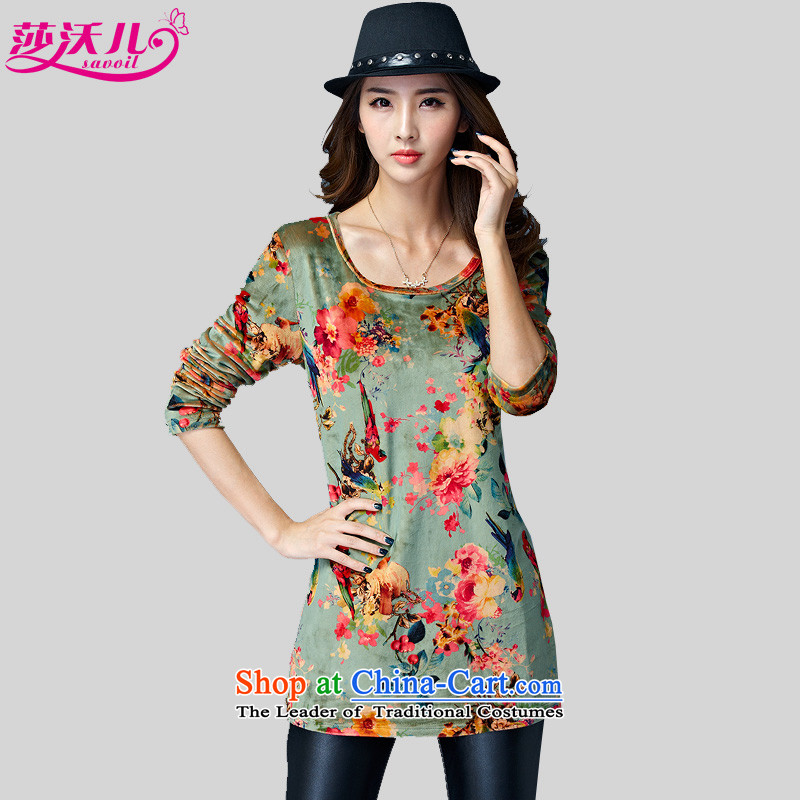 Elisabeth Kosovo children Fall/Winter Collections Korean version of large numbers of women in the long load lint-free thick velvet thick mm stylish ethnic tension T-shirts, forming the stamp shirt type 5801 green stamp larger XL recommendations 741 cattie